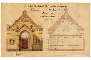 Architecttekening voorgevel vrijzinnigenkerk Oud-Beijerland